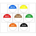7 x 1,000 Day Dots - Monday to Sunday - Colour Coded Food Labels - Peel Adhesive