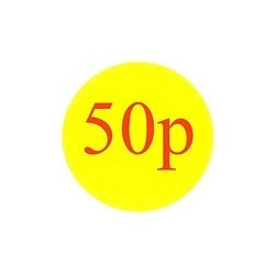 40mm '50p' Promotional Labels / Stickers - Qty 500