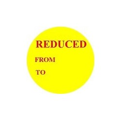 40mm 'Reduced' Promotional Labels / Stickers - Qty 500