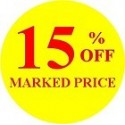 40mm '15% off' Promotional Labels / Stickers - Qty 500