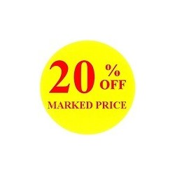 40mm '20% off' Promotional Labels / Stickers - Qty 500