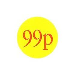 50mm '99p' Promotional Labels / Stickers - Qty 500