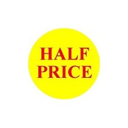 'Half Price' Promotional Labels / Stickers - Qty: 500